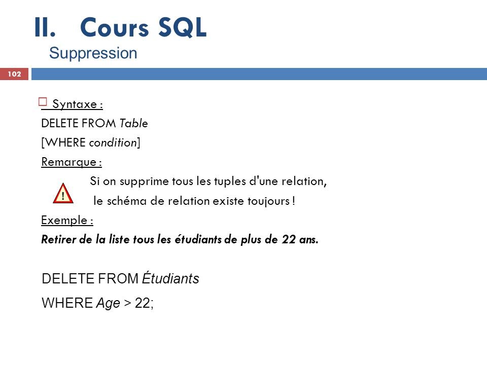 Cours SQL Suppression Syntaxe : DELETE FROM Table [WHERE condition]
